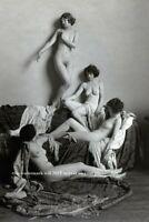 Sexy 1920s Nude Flapper Girl Group PHOTO Vintage Ziegfeld ACJ Frolicking, Girls