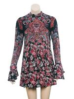 Free People Lady Luck Printed Tunic Dress XS Women's Casual Long Sleeve NW 16130