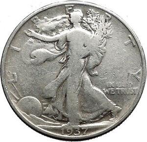 1937 WALKING LIBERTY Half Dollar Bald Eagle United States Silver Coin i44645