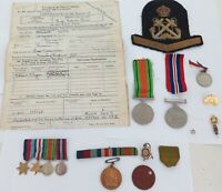 .A GOOD WW2 GROUPING. # MX 93271 E. F. B. LUTMAN ROYAL NAVY. MEDALS, PAPERS ETC.