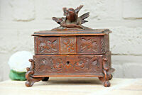 Antique Swiss black forest wood carved jewelry trinket box bird velvet
