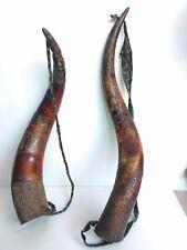 Pair of African Carved Trumpet Horns Coppia Corni Intagliati Africa
