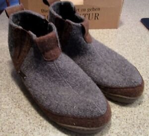 Women's HAFLINGER Aspen Gray Wool Moccasin Slipper Boots Size 8 US, 37 Eur NEW