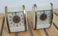 AS IS Lot 2 Vintage WESTCLOX Wind Up Art Deco Tambour Door Travel Alarm Clocks