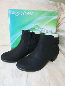 "NEW EASY STREET womens 7.5M zip up side 2"" heel DAWNTA ankle boot black COMFORT"