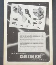 1944 GRIMES MANUFACTURING Aircraft Lights Headlights WW2 Vintage Print Ad