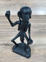 Vintage Wooden Black hand carved tribal Figure with moving backpack and earrings