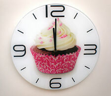 Wall clock tempered glass. Round. Cupcake cake pink white brown 35cm. ON SALE!