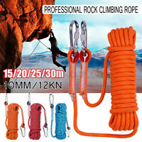 60//90M Static Rescue Rope Rock Climbing Rappelling Safety Cord Sling Durable UK