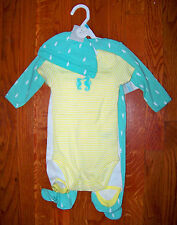 New! Girls CARTER'S 4pc Green & Yellow SeaHorse Outfit Pajamas Set 3-6 Months