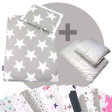 Bettwäsche-Set 4-tlg. für Kinderwagen Babybett Decke+Kissen+Füllung (STARS 4)