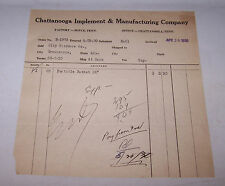 1930 CHATTANOOGA IMPLEMENT & MANUFACTURING Invoice Tennessee