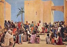 B99155 einzug in jerusalem  Jesus  riding donkey  painting religious postcard