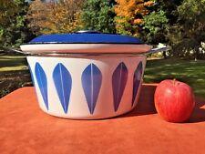 Large CATHRINEHOLM White & Blue Lotus Enamelware Dutch Oven Stock Pot