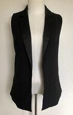 Forever 21 Women's Sleeveless Blazer  Size Small Black Long Vest Open Front