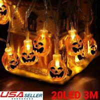 20LED 3M Pumpkin String Lights Halloween Decoration Lights Warm White Waterproof