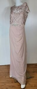 Xscape Lace and Ruched Mesh Dress with Beaded Waist Gown Sz 12 Blush