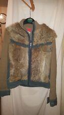Vintage Rétro y fille en jean et fourrure véritable Veste 32 in (environ 81.28 cm) poitrine