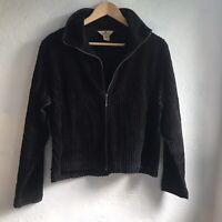 Woolrich Black Ribbed Corduroy Zip Up Jacket Size Large Women's Velvet Workwear