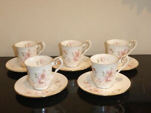 ROYAL ALBERT BREATH OF SPRING FOR ALL SEASONS SET OF 5 CUPS AND SAUCERS