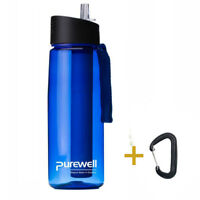 Purewell Personal Water Filter Bottle Portable Purifier 0.65L For Camping Hiking
