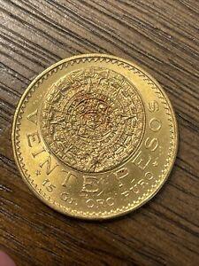 1959 Gold 20 Pesos Mexico Veinte Pesos, 20 Pesos, Aztec Calendar Coin