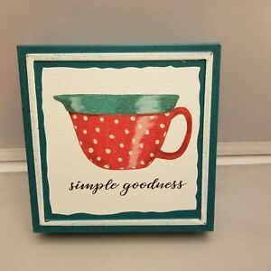 """Pioneer Woman Simple Goodness Sign Teal Red Dot Cup 6"""" x 6"""" Metal"""