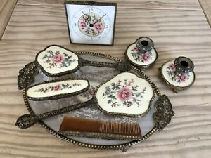 Vintage Regent of London Porcelain Vanity Dressing Table Set With Tray And Clock