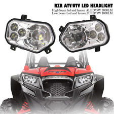 Pair ATV UTV LED Conversion Headlight 6500K For POLARIS RZR  XP 800 900 2011-14