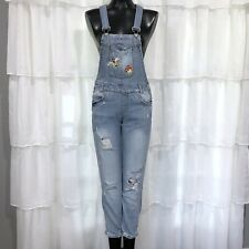 Size 1 Juniors ALMOST FAMOUS Patch Denim Jean Overalls Dungarees