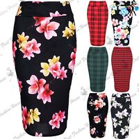 Ladies Womens Tartan Print High Waist Bandage Wiggle Pencil Bodycon Midi Skirt