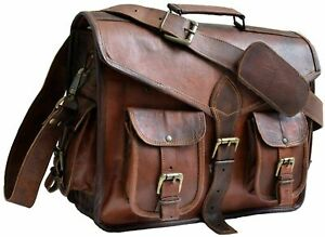 18'' Men Handmade Quality Leather Cross body Brown Messenger Laptop Vintage Bags