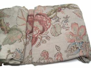 "Pottery Barn Brown Grace Floral Print Window Drape Panel Pole Top 50"" X 96"""