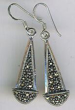 """925 Sterling Silver Marcasite Drop / Dangle Earrings  43mm (1.3/4"""")"""