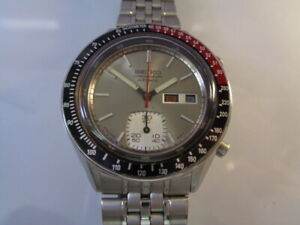 SEIKO CHRONOGRAPH MENS WATCH DAY & DATE 6139-6040 AUTOMATIC KANJI STAINLESS STEE