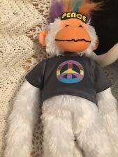 Mohawk Monkey. Peace. Plush Stuffed Animal. White Orange