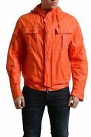 Dsquared2 Men's Orange Full Zip Hooded Windbreaker Jacket US S IT 48