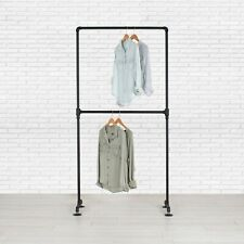 Industrial Pipe Double Row Clothing Rack by William Robert's Vintage