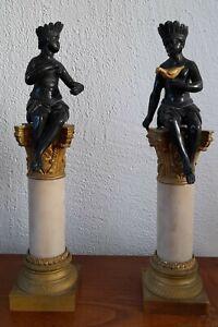 2 cassolettes colonnes couple nubiens sauvages indigènes marbre bronze nubian