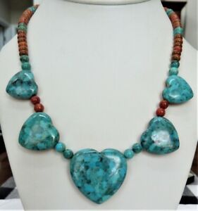 JAY KING STERLING SILVER REVERSIBLE HEART CORAL TURQUOISE GEMSTONE BEAD NECKLACE