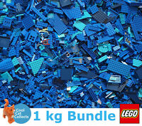 Genuine Lego 1kg / 1000g Bundle of Mixed Blue Bricks Joblot + Free Minifigure
