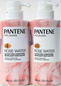 2 Bottles Pantene Pro V Blends 10.1 Oz Rose Water Moisture Milk Conditioner