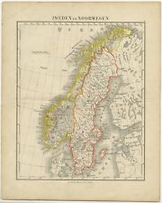 Antique Map of Sweden and Norway by Petri (c.1873)