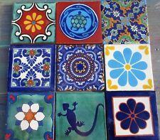 "9~Talavera Mexican 4"" tile pottery gorgeous mixture of tiles multi color blue"