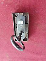 Ancienne serrure de meuble avec clé-2 points-ouverture à droite-XX ème