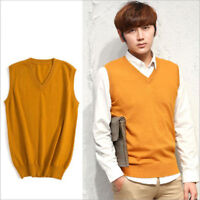 6624 New Men's Cashmere Loose Pullover V Neck Knit Long Sweaters Jumpers Vest