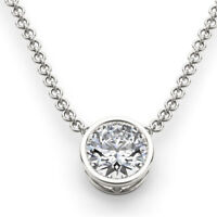 2Ct Round Solitaire Pendant Necklace Bezel Set W/Chain Solid 14K White Gold Over