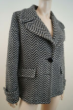 JAEGER Black & Cream Chunky Herringbone Virgin Wool Blend Lined Jacket Coat UK12