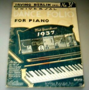 1937 Irving Berlin No.31 Universal Dance Folio For Piano