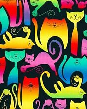 Kat-tastic Flannel Bright and Cheeky Cats Benartex Fabric FQ